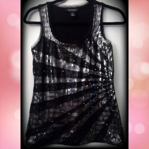 Like New! WHBM Black Silver Embellished Sequin Top